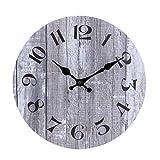 jomparis Vintage Wanduhr MDF Hölzern Wanduhr Nicht-tickende Uhr für die Küche Home Office Wohnzimmer und Schlafzimmer (Grau - 25 cm Ø)