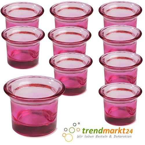 Teelichtglas-Set rosa ✓ 10er Set trendmarkt24 ✓ ca. 6,5 x 4,5 cm groß ✓ Windlicht-Glas Teelichtgläser | Teelicht-halter Set ✓ Hochzeits Tischdeko / Geburtstags Deko | trendmarkt24 - 37501781