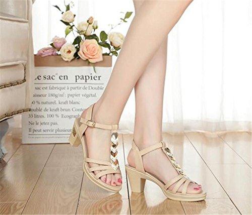 YEEY Sandali estivi Open Toe PU scarpe tacco alto per le donne lavoro banchetto shopping club confortevole Beige