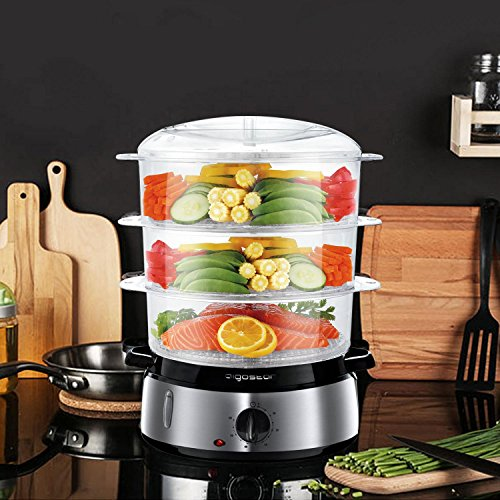 51wM0WCVcrL. SS500  - Aigostar Fitfoodie 30KHM - Electric Food Steamer, 800W, 3-Tier 9 L Capacity, 60-Minute Timer, Brushed Stainless Steel, Stackable Baskets, BPA Free, Exclusively Design.