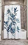InterDesign Leaves Duschvorhang | Designer Duschvorhang in der Größe 183,0 cm x 183,0 cm | schickes Duschvorhang Motiv mit Blättern | Polyester marineblau/grau