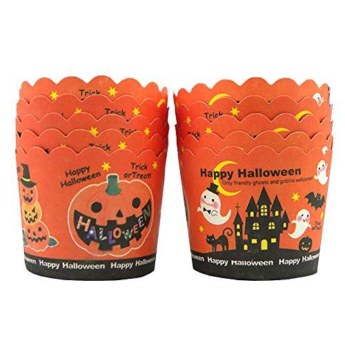 (Beiersi 24 Stück Cupcake Förmchen Papierkuchen Tassen Fällen Liner Muffin Backen Cupcake Papierförmchen Liner Cupcake Wrappers Halloween Deko für Hochzeit Party (Orange))