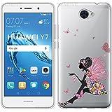 Funda Para Huawei Y7, Sunrive® Silicona Funda Slim Fit Gel Transparente Carcasa Case Bumper de Impactos y Anti-Arañazos Espalda Cover(tpu niña mariposa) + 1 x Lápiz óptico