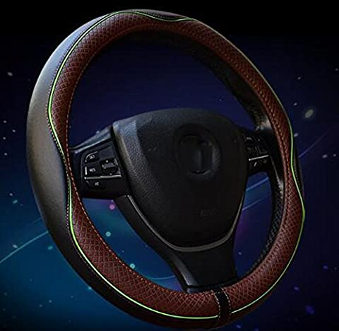 Auto Lenkradabdeckung - Heavy Duty, Thick, Durable, Elegant, No Smell, Universal 15 Zoll Lenkabdeckung,Dunkler kaffee