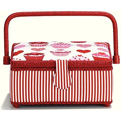 Prym–Rayas cesta de costura con corazón y magdalenas y adornos, algodón, rojo/rosa/blanco, pequeño