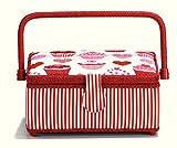 Prym Streifen Nähkorb mit Herz und Muffin und Rand, Baumwolle, Rot/Rosa/Weiß, Größe S
