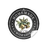 24 STICKER: Süße Aufkleber in Schwarz/Kreidetafel - Look mit liebevoll illustrierten Oliven
