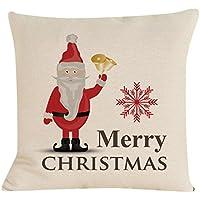45cm * 45cm federe, Kingko® motivo natalizio rosso e beige Semplificare tono stampa quadrato copridivano cuscino decorativo federa per auto, E, taglia