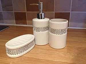 White Diamante 3 Pc Bathroom Accessory Set Ceramic Soap