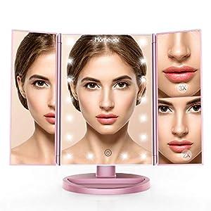 Homever Schminkspiegel mit LED Lich, Schminkspiegel LED 1x/2x/3x Vergrößerung mit 21 LED Leuchtmittel Touchscreen, Faltbare 180 Grad Drehbare Standspiegel, USB und Batterie Dual Power Supply