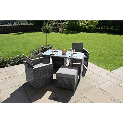 San Diego Dallas Baby Rattan Garden Furniture Grey Balcony Cube Set Garden Rattan Furniture
