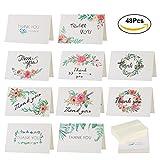 KESOTO Dankeskarten Set, 48 Stück Dankes Karten mit 48 Stück Umschläge für Hochzeit Geburtstag Erntedankfest Staffelungen Jubiläum