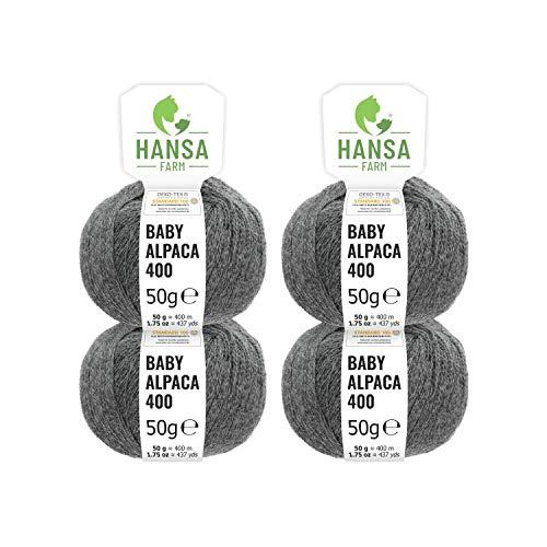 Hansa-farm 100% lana di alpaca in più di 50 colori (non punge), set da 200g (4 x 50g), lana di baby alpaca morbida per maglieria e uncinetto in 6 spessori di filato gomitoli lana grigio cupo