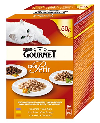 Purina Gourmet Mon Petit conmida para gatos con Pato, Pollo y Pavo 6 x 50 g