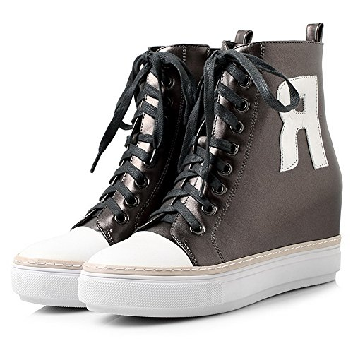 AllhqFashion Damen Hoher Absatz Gemischte Farbe Weiches Material Reißverschluss Stiefel Grau
