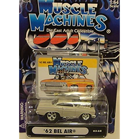 MUSCLE MACHINES 1:64 SCALE #03-68 WHITE 1962 BEL AIR DIE-CAST, '62 CHEVY BEL AIR by FUNLINE