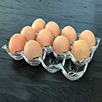 MyGift Clear Acrylic 12 Egg Tray Holder, Refrigerator Egg Crate Storage Rack