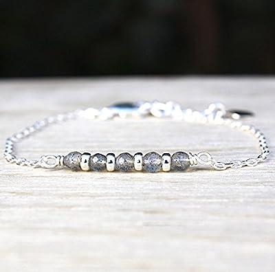 bracelet chaine argent massif pierres de gemmes labradorite et rondelles