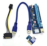 Amcool USB3.0 PCI-E Express 1x To 16x Extender Riser Card Adapter SATA 6Pin Cable (30cm)