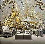 WH-PORP Europäischen Stil 3D Relief Gold Pfau Wandbild Tapete Wohnzimmer Tv Hotel Hintergrund Wand Wohnkultur Tapeten Für Wände 3D-200cmX140cm