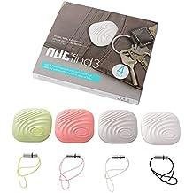 NUT 3 4pcs Mini Anti-perdida inteligente Bluetooth Tracker Inalámbrico Rastreador de llave Localizador Buscador TH446 (gris+blanco+verde+rosado)
