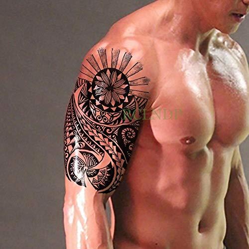 BRT Wasserdicht Temporäre Tattoo Sticker Tribal Totem Fake Tatto Flash Tatoo Body Art Back Leg Arm Bauch Große Größe Für Frauen Männer Mädchen Monochrom