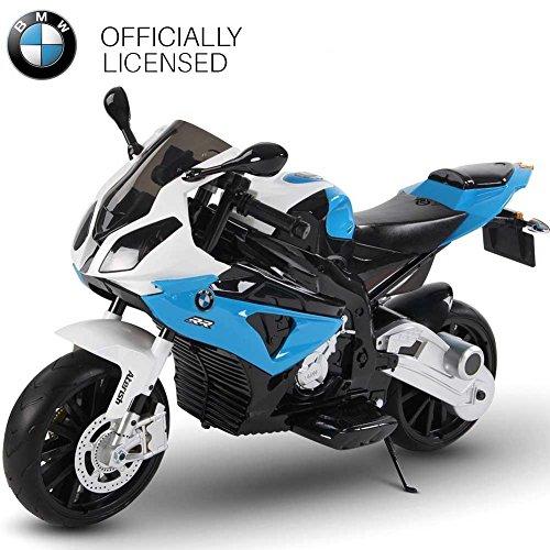 BAKAJI Moto Elettrica per Bambini BMW S1000 RR Blu 12V con Chiave Accensione Doppia Velocità 2 Motori Ruote EVA Licenza Ufficiale BMW