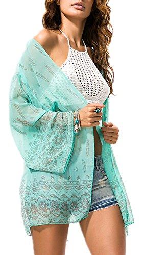 Cardigan Bluse (Jusfitsu Damen Sommer Boho Chiffon Kimono Stil Gedruckt Tops Jacke Cardigan Blusen Beachwear (One Size, Grün))