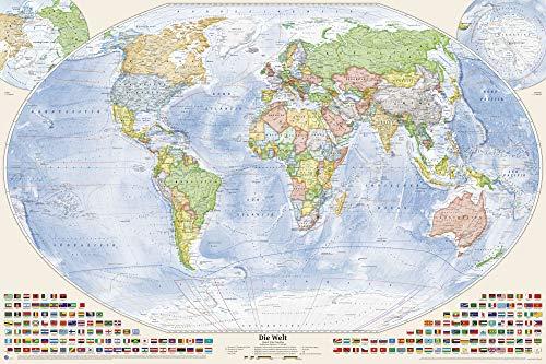 Politische Weltkarte 150 x 100 cm: mit Flaggen, deutsch (Weltkarte Große)