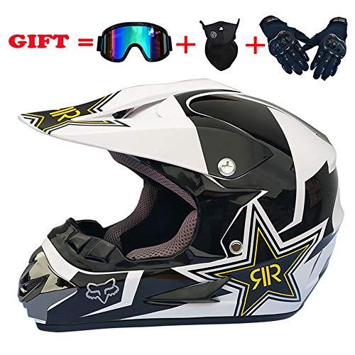 ZJRA Schwarz-weißer Star-Motocross-Helm, Vollvisier-Allradhelm ECE-Downhill-Motorradhelm für Geländewagen MX ATV, 4er-Set, DOT-Zertifizierung,S54~55CM