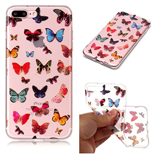 Cover iPhone 7/iPhone 8, GrandEver Morbida Trasparente Ultra Slim Gel Silicone TPU Custodia Protettiva Back Shell Case per iPhone 7/iPhone 8 - Farfalla Farfalla