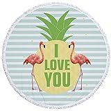PYHQ Flamingo Art Kreis Strandtücher Badetuch Yoga Matten Böhmischer Tapisserie Boho Baumwolle Quaste Decke Tischdecke Picknickdecke Schal Hippie Bohemian Tropisch Geometrische Formen Sommer Ananas