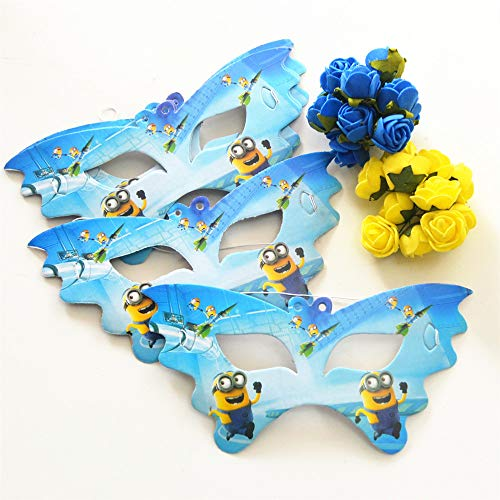 HITSAN INCORPORATION 10pcs Minions Party Paper Cartoon Eye/Face Mask Kid Baby Birthday/Halloween/Christmas Party Supplies Decoration