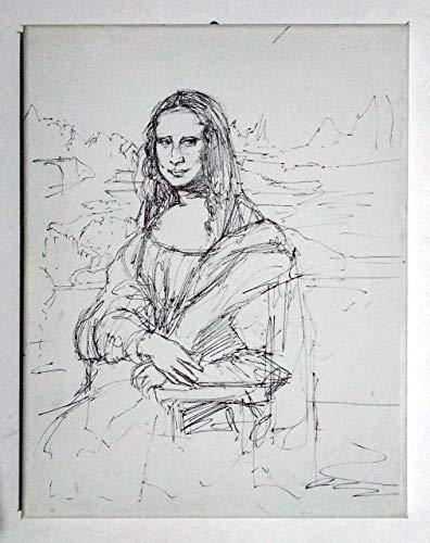 La Gioconda - Gioconda estudio sobre lienzo dimensiones cm 24x30x0.3 cm, hecho a mano y con técnica de porcelana negra, Lucca Toscana, certificado.