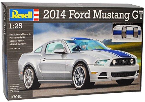Ford Mustang V 2. Generation Coupe Silber mit Blauen Streifen 2009-2014 07061 Bausatz Kit 1/24 Revell Modell Auto