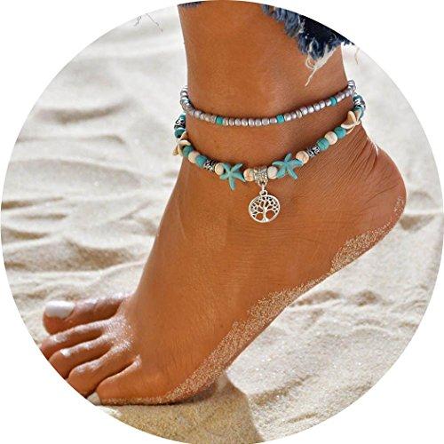 Tobillera con cadena y accesorios de joyería, con tortuga de mar y conchas,...