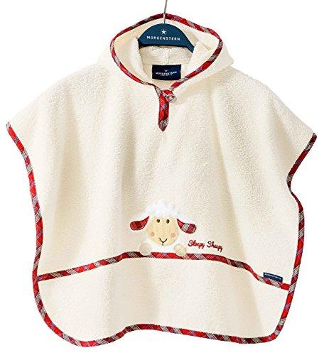 Morgenstern, hochwertiger Frottee - Bade - Poncho aus 100 % Baumwolle, Farbe beige ( creme ), Motiv Schaf, Größe one size (ca. 1 bis 3...