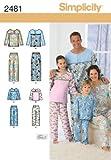 Simplicity 2481 - Cartamodelli per pigiami da donna, uomo, bambino, taglie XS-XL [lingua inglese e spagnolo]
