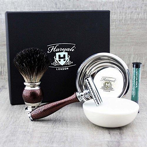 Classic Rasur und Pflege Set für Herren Kastanienbraun Antik/Vintage Style in schwarz...
