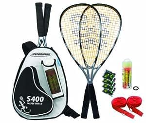 Speedminton Schläger Set S400 im Back Pack, (incl. Easycourt), silver-black
