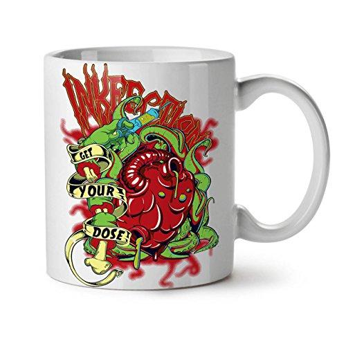 Wellcoda Bekommen Ihre Dosis tot Grusel Keramiktasse, Tod - 11 oz Tasse - Großer, Easy-Grip-Griff, Zwei-seitiger Druck, Ideal für Kaffee- und Teetrinker -