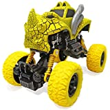 Popsugar Pull Back Dinosaur Monster Truck with Big Rubber Wheels for Kids , Yellow