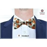 """Noeud papillon (tissu) - """"Abidjan"""" - Bleu motif ananas - Fabriqué en France par Woodiny"""