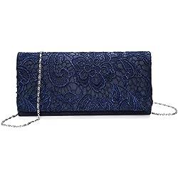Kisschic Damen Elegant Spitze Abendtasche Party Clutches Blau Taschen Braut Hochzeit Handtaschen Damen