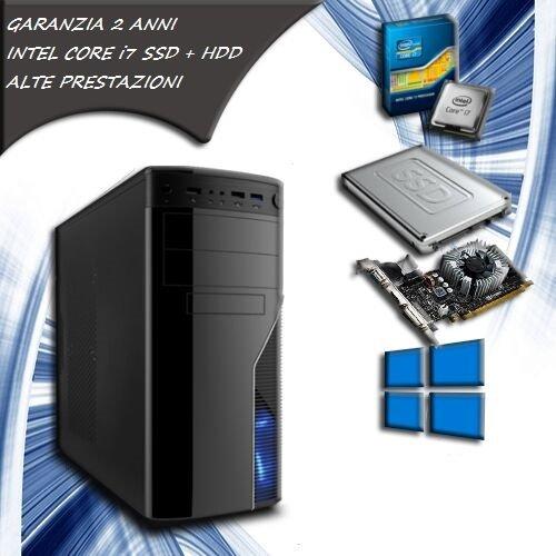 PC FISSO COMPUTER DESKTOP INTEL CORE i7 RAM 8 GB SSD 120 HDD 1TB VIDEO DEDICATA 1GB LICENZA ORIGINALE MICROSOFT WINDOWS 10 PRO