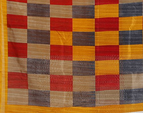Samskruti Sarees Women's Checkerd Print Art Silk Saree (SYUV-YELLOW)