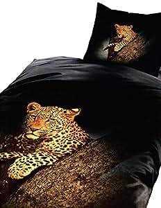 2 teilig Bettwäsche 135x200 Leopard Fotodruck Microfaser schwarz / gelb Bettbezug Aktion Neu Premiumdruck, mit Reißverschluss