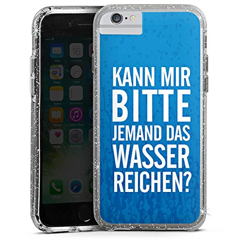 Apple iPhone 6s Bumper Hülle Bumper Case Glitzer Hülle Sayings Phrases Sprüche Bumper Case Glitzer silber