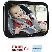 VETOMILE Espejo Retrovisor para vigilar al Bebé en el Coche, Espejo de Bebé para Asiento trasero de Coche, Doble Correa con Paño de Limpieza gratuito