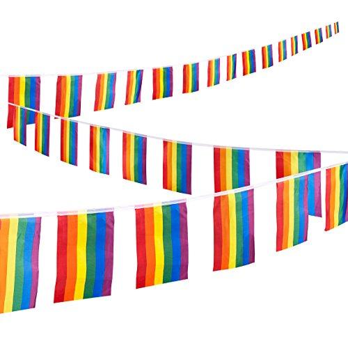 Rainbow Flaggen Saite, 32-teilig, Gay Pride Flagge Set–LGBT Flaggen für Pride Dekorationen, Pride Flaggen, Rainbow Party Supplies, Gay Flaggen,–Bunte 37,4Füße Saite, jeder Flagge 30,5x 19,6cm